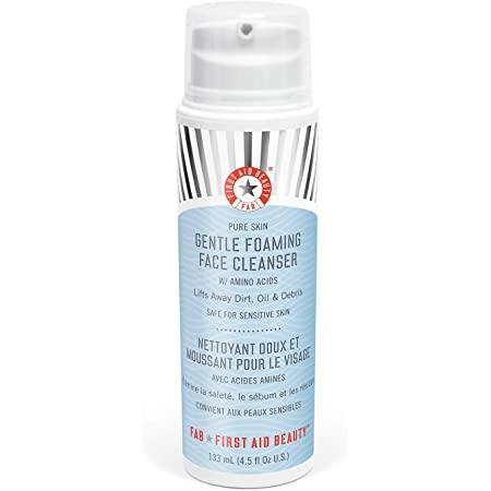 First Aid Beauty Pure Skin Gentle Foaming Face Cleanser, Sensitive Skin Foam Cleanser with Amino Acids - 4.5 oz.
