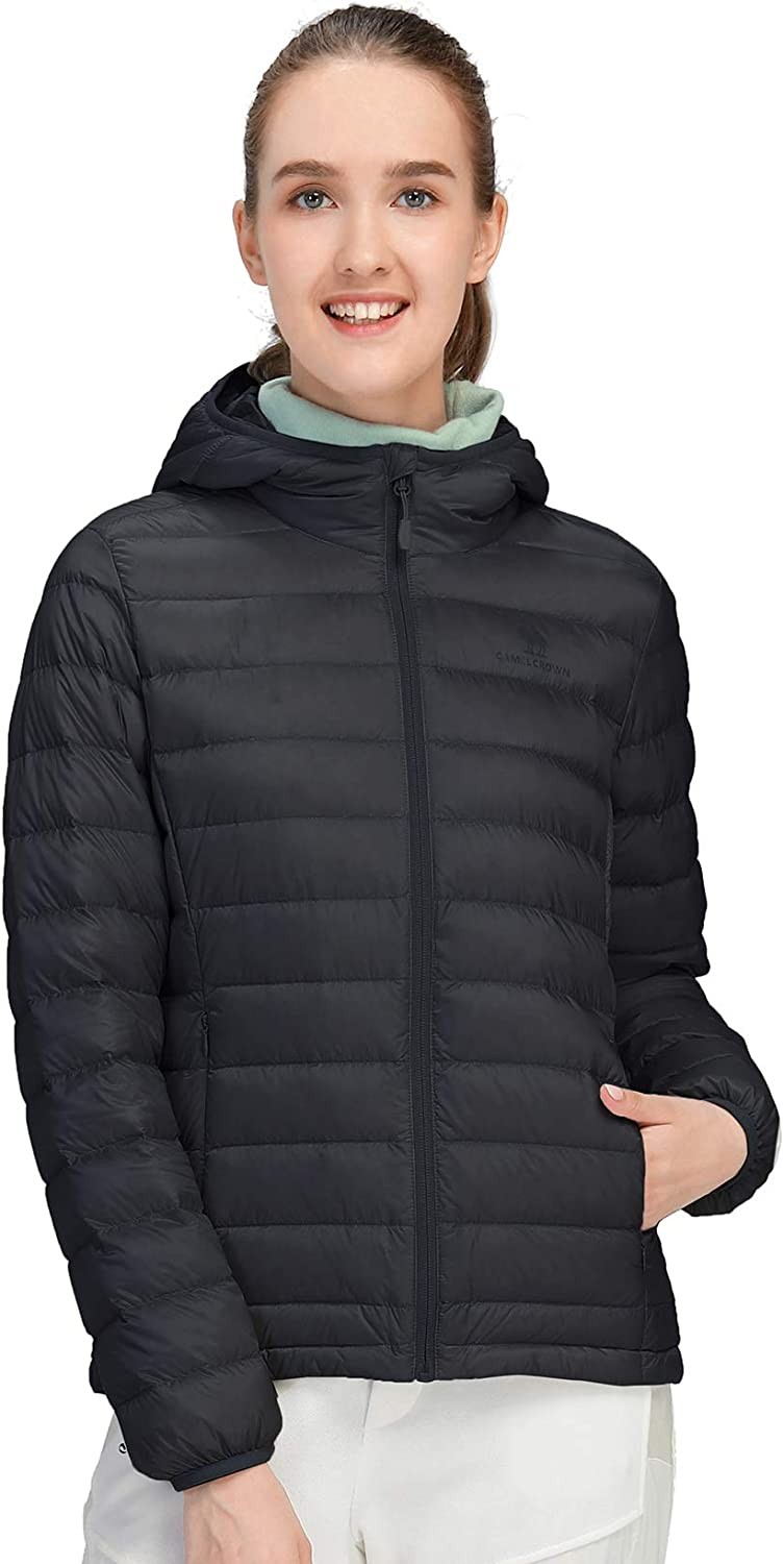 CAMEL CROWN Womens Packable Hooded Down Jacket Ultra Light Insulated Puffer Coat Water Resistant