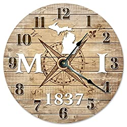 MICHIGAN CLOCK Established in 1837 Decorative Round Wall Clock Home Decor Large 10.5 COMPASS MAP RUSTIC STATE CLOCK Printed Wood Image