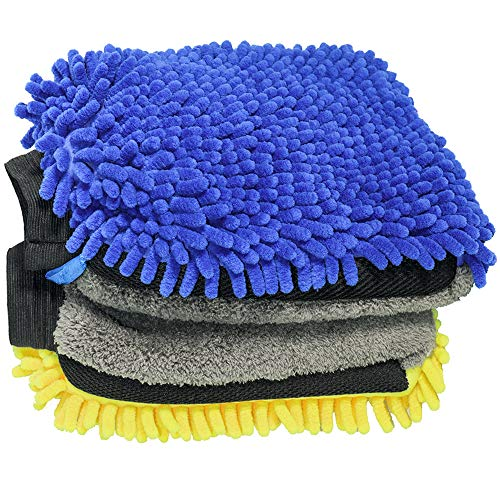 YWWY Car Wash Mitt - 12 X 8 Inch Extra Large Size Winter Waterproof Premium Chenille Microfiber Washing Mitts Coral Velvet Wash Glove Lint Free Scratch Free (2 pcs)