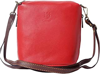 FLORENCE LEATHER MARKET Borsa Rossa e Marrone a tracolla in pelle donna 17x10x19 cm - 8620 - Made in Italy