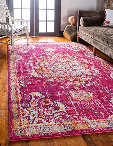 Unique Loom Penrose Collection Traditional Vintage Distressed Magenta Area Rug (5' 3 x 7' 7)