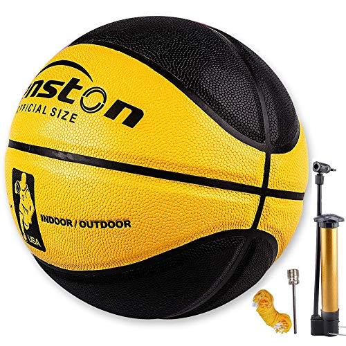 Senston Official Basketball 295 Outdoor Indoor Mens Basketballs Yellow Black with Pump Needle Net