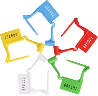 100 Pcs Disposable Plastic Padlock Seal Serial Numbered, 5 Colors Self-Locking Type Safety Control Seals. Ideal for Luggage, Document Bag, Transportation, Briefcase Locking