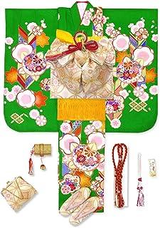 七五三 7歳 着物 フルセット 正絹 絵羽柄の子供着物 結び帯セット 選べる帯「緑 橘に梅と矢羽」WGS808-set