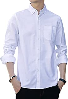 Cloudstyle Men's Solid Cotton Slim Fit Casual Long Sleeve Shirt