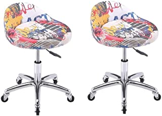 SUN HUIJIE Swivel Stool Adjustable Chair Height,Heavy Duty Hydraulic Rolling Metal Stool for Kitchen,Salon,Bar,Office,Massage (Color : D) (Color : C×2)