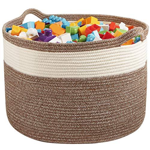 "XL Cotton Rope Basket – 20""x20""x14"" – Extra Large Woven Basket – Multipurpose Blanket Storage Basket Organizer – Elegant and Modern Design – Ideal for Baby Nursery, Toys, Towels, Laundry Bin"