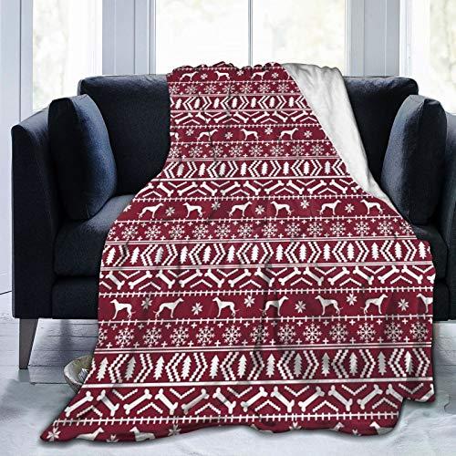 Greyhound Fair Isle - Manta de franela de forro polar suave y cálida para sofá de bebé, para niños, adultos, hombres y mujeres, dormitorio interior 50