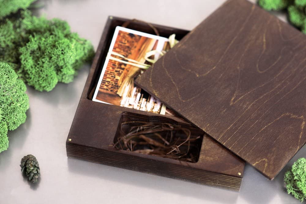 Wooden Box for USB Flash Drive Wedding Box Box for Memory Stick and Print ONLY Box (6,7