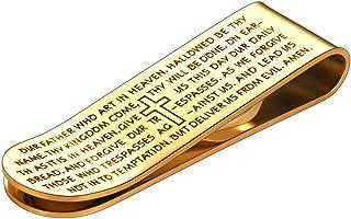 FaithHeart croce in acciaio INOX preghiera Bibbia versi fermasoldi (3colori)