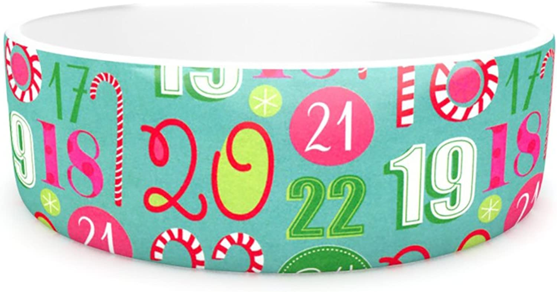 Kess InHouse Heidi Jennnings Merry Countdown  Pet Bowl, 7Inch, Green Pink