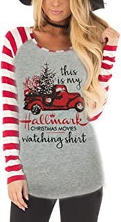 Womens Christmas Tops,Women's Casual Color Christmas Holiday Celebration Striped Raglan Sleeve T Shirt Tunic Tops