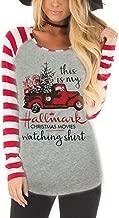 Womens Christmas Tops,Women's Casual Color Christmas Holiday Celebration Striped Raglan Sleeve T Shirt Tunic Tops