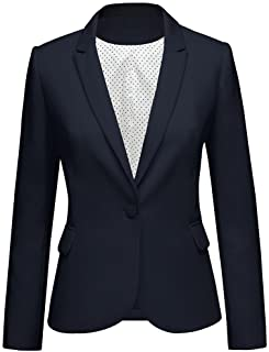 Lookbook Store Womens Notched Lapel Pocket Button Work Office Blazer Jacket Suit