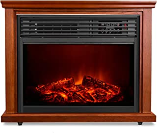 Electric Fireplace Heater with Remote - 1500W Infrared Heater with 3D Flames Effect, 800 Sq Ft Coverage, Space Heater with Thermostat, Fast Heating, No Noise, Safety Protection, Brightness Adjustable