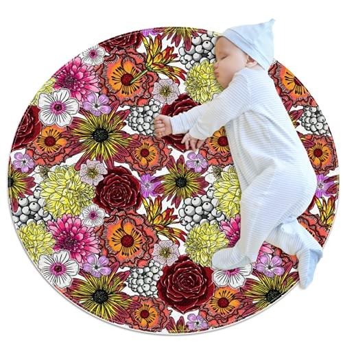 LKJDF Alfombra redonda de área redonda, alfombra redonda de baño, sala de estar, dormitorio, baño, cocina, varias flores