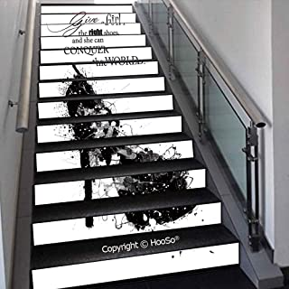 PUTIEN Creative Decorative 3D Self-Adhesive Stair Riser Decal - Stair Stickers Decals Wallpaper for Home Decoration,Beautiful Vanilla Sky with Clouds Tenderness Dreamy Unreal S,39.3