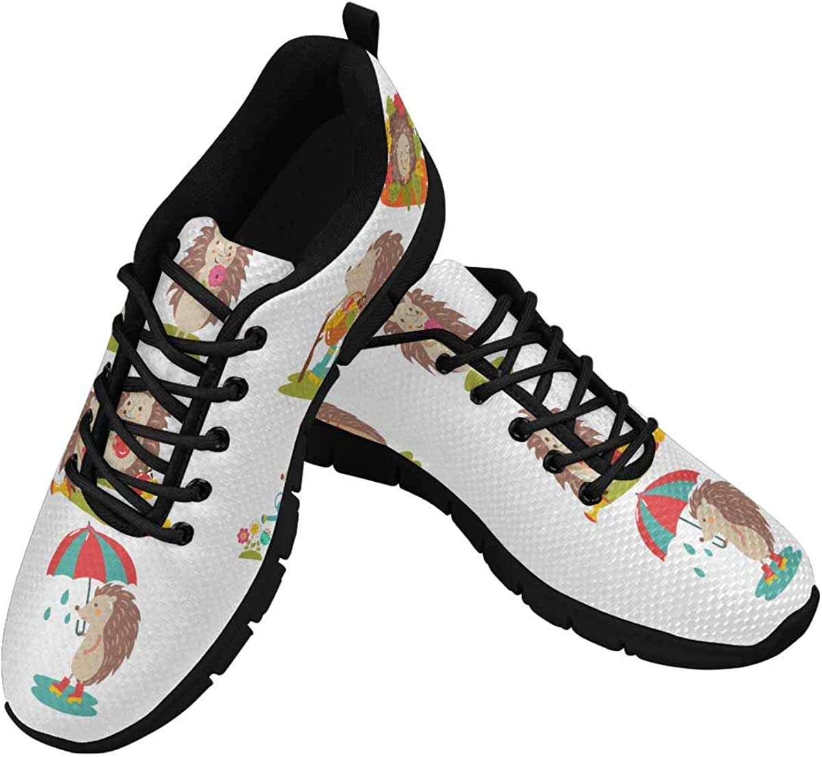 INTERESTPRINT Cartoon Hedgehog in Forest Women's Lace Up Breathable Non Slip Sneaker