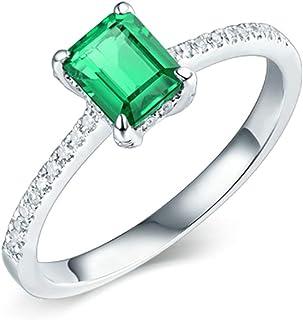 Daesar Anello Fidanzamento Donna Oro Bianco 18K, Anelli Promessa di Matrimonio 4 Griffe Smeraldo Rettangolare 0.6ct con Di...