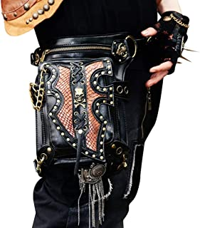 Leg Strap Multifunctional Retro Punk Locomotive Bag Rock Locomotive Bag Ladies PU Material Shoulder Messenger Bag Female Waist Bag Chest Bag Chain Bag Size 16 * 10 * 30cm Dynamic