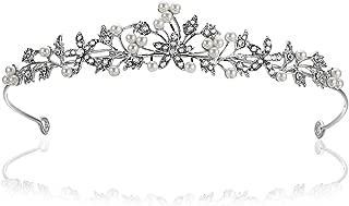 Flower Leaf Faux Pearl Rhinestone Crystal Bridal Tiara Crown T881