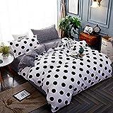 Michorinee - Juego de ropa de cama de lunares (135 x 200 cm, 4 piezas, microfibra, reversible), color blanco y negro