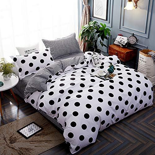 Michorinee - Juego de ropa de cama de lunares (135 x 200 cm, microfibra, reversible, 135 x 200 + 80 x 80 cm), color blanco y negro