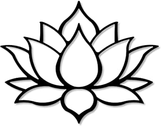 """Master cut Metal Lotus Wall Hanging Art Sculpture Abstract Flower Pieces - Mild Steel - Black, Size - 18"""" x 24"""" - 2mm Thic..."""
