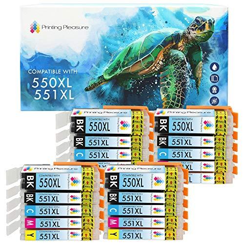 Printing Pleasure PGI-550 CLI-551 20 Cartuchos de Tinta PGI-550XL CLI-551XL Compatible para Canon Pixma iP7150 MG5450 MG5550 MG5650 MG6350 MG6450 MG6650 MG7150 MG7550 MX725 MX925 iP7250 iP8750 iX6850