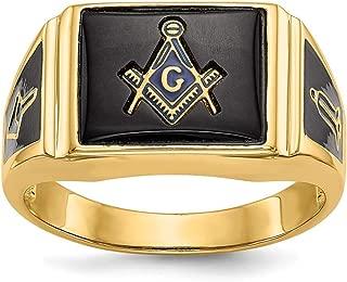 Roy Rose Jewelry 14K Yellow Gold Black Onyx Men's Masonic Ring, Size - 10