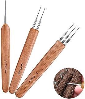 Katech 3 Pièces Crochets Dreadlocks de Poignée en Bambou, Outil à Aiguilles Dreadlock Set avec Même Taille (0.75mm) de Di...