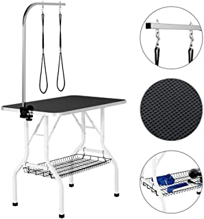 Yaheetech 32/36-inch Pet Dog Cat Grooming Table Professional Foldable Height Adjustable Drying Table w/Arm & Noose & Mesh Tray, Maximum Capacity Up to 220lbs Black