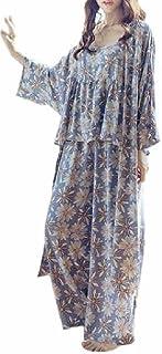 KMS ゆったり エレガント パジャマ ルーム ウェア ガウン付 花柄 上下 3点 セット レディース 大きいサイズ も