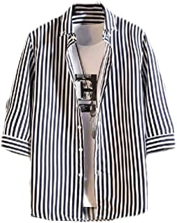 neveraway Mens Summer Fashion Button Casual Loose Stripe 3/4 Sleeve Western Shirt
