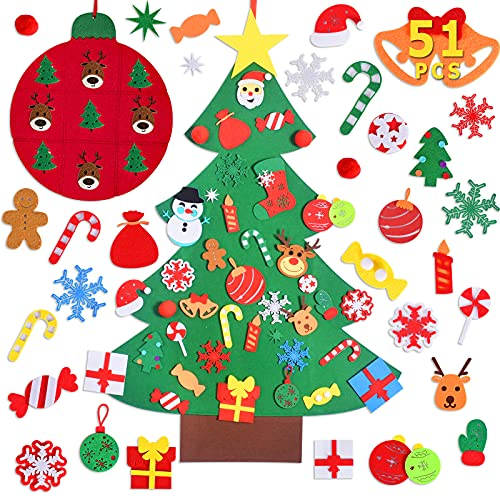 Max Fun DIY Felt Christmas Tree Set with 40Pcs Ornaments Wall Hanging Decorations Children's Felt Craft Kits for Kids Xmas Gifts Party Favors
