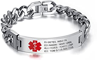 Lam Hub Fong 7.5 to 8.5 Inches Free Engrave Emergency Medical Bracelets for Men Women Alert ID Bracelets for Adults Titanium Steel Medical Alert Bracelets for Women