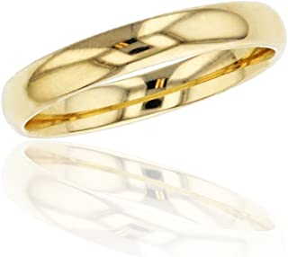10K or 14K Yellow & White Gold 3mm Polished Plain Wedding Band, Size 4-12