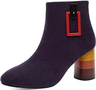[HR株式会社] ブーツ レディース ハイヒール 太めヒール 約7.5cm スエード ジッパー 裏ボア おしゃれ 通勤 防滑 疲れない サイズ22.0cm-25.0cm