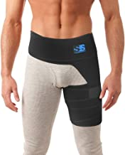 Best Thigh, Groin, and Hip Brace for Men and Women - Compression Wrap for Sciatica Pain, Pulled Muscles, Hip Flexor Recovery, Injury, Sprain Relief. Support Sleeve for Hernia, Hamstring, Quad, SI Belt