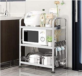 KOKOF Étagères de cuisine, étagères de rangement au sol, étagères à épices multicouches en acier inoxydable, paniers à lég...