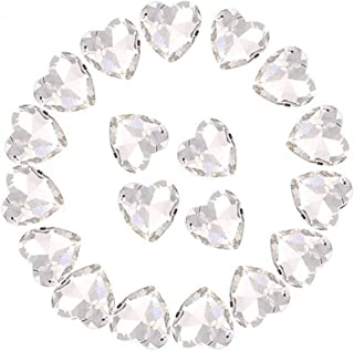 Crystal Rhinestones 50pcs AB Crystals Pointback Heart Glass Rhinestone for DIY Crafts Jewelry Making,12mm,White