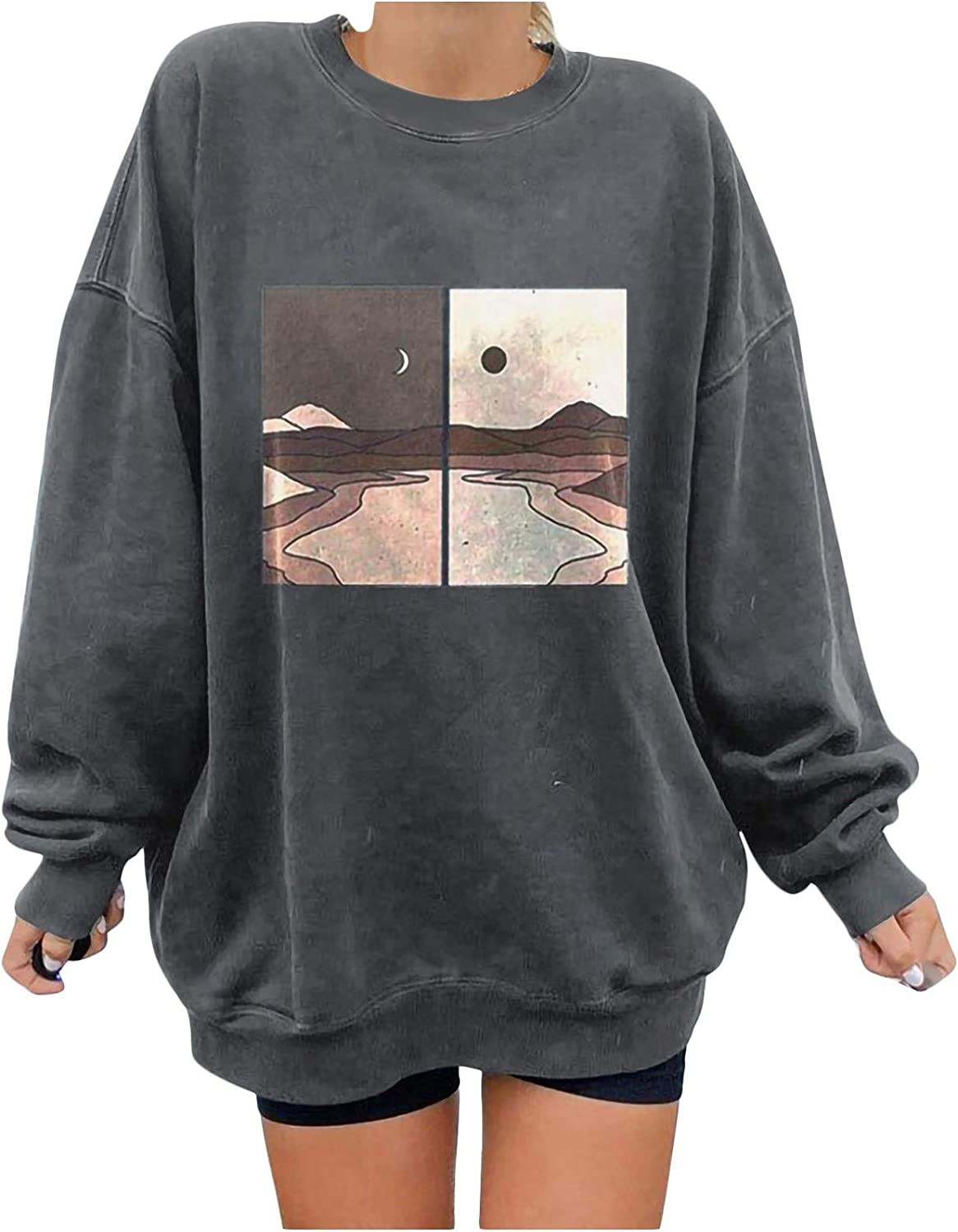 nunonette Pullover Sweaters for Women,Womens Aesthetic Sweater Landscape Printed Long Sleeve Casual Sweatshirt Top Blouse