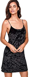 Victoria's Secret Crushed Velvet Slip, Black, XS/S