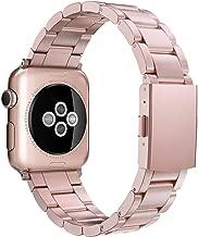 Simpeak Correa Compatible con Apple Watch Series 5/ Series 4/Series3/ Series 2/ Series 1 Correa 38mm Acero Inoxidable Reemplazo de Banda Compatible con iWatch Todos los Modelos 38mm,Oro Rosa