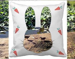 OFFbb-USA Lake Lotus Summer Rabbit - Funda cuadrada para almohada