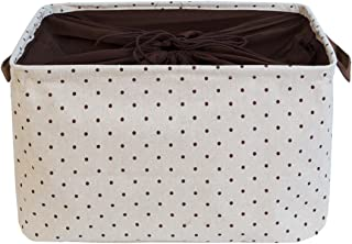 DOKEHOM 15-Inches Large Storage Basket (Available 15 and 17 InchesWidth), Drawstring Square Cotton Linen Collapsible Toy Basket (Brown, M)