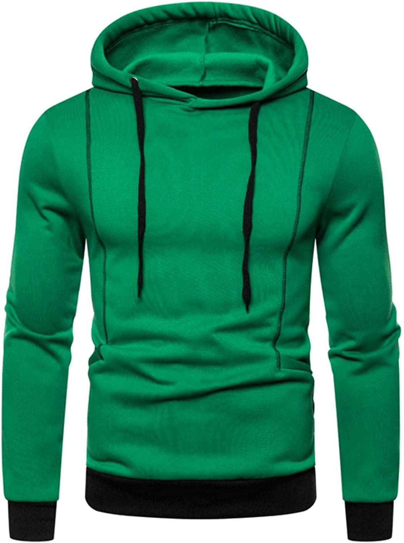 Men's Long Sleeve Casual Lightweight Sweatshirt Soild Color Slim Fit Hoodies Pullover Sweatshirt Tops Blouse