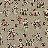 Dekostoff Dogs Life, Hunde, Leinenoptik, beige (25cm x