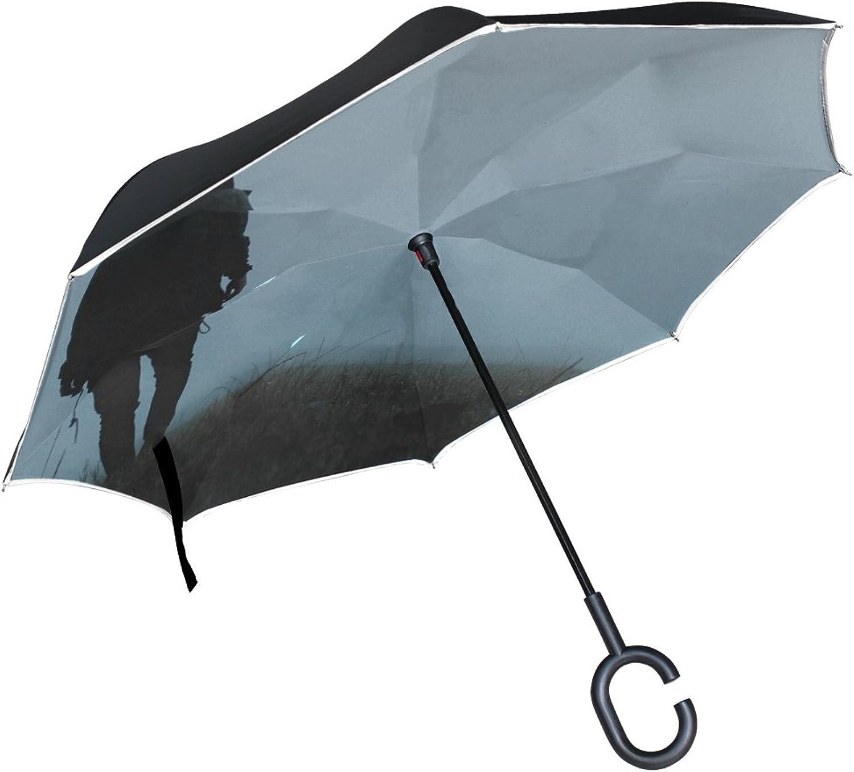Rh Studio Ingreened Umbrella Man Loneliness Fog Ingreened Umbrella Large Double Layer Outdoor Rain Sun Car Reversible Umbrella
